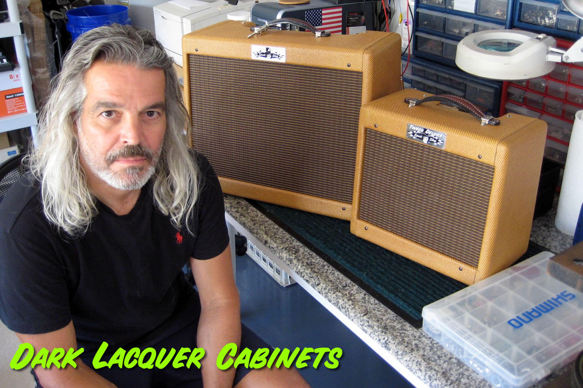 Custom Dark Lacquer Tweed Cabinets