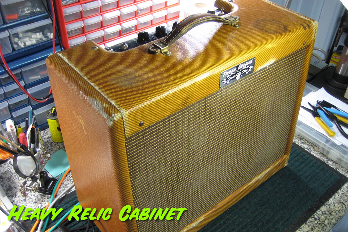 Heavy Relic Tweed Combo Cabinet Front